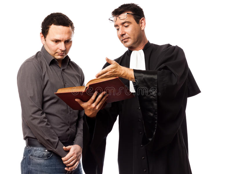 Rechtsanwaltmann und sein Klient lizenzfreie stockbilder