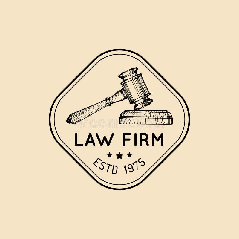 Rechtsanwaltsbürologo mit Hammerillustration Vector Weinleserechtsanwalt, Anwaltaufkleber, rechtlicher fester Ausweis stock abbildung
