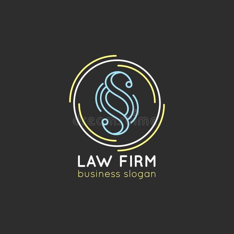 Rechtsanwaltsbürologo Vector Weinleserechtsanwalt, Anwaltaufkleber, rechtlicher fester Ausweis Tat, Prinzip, legales Ikonendesign stock abbildung