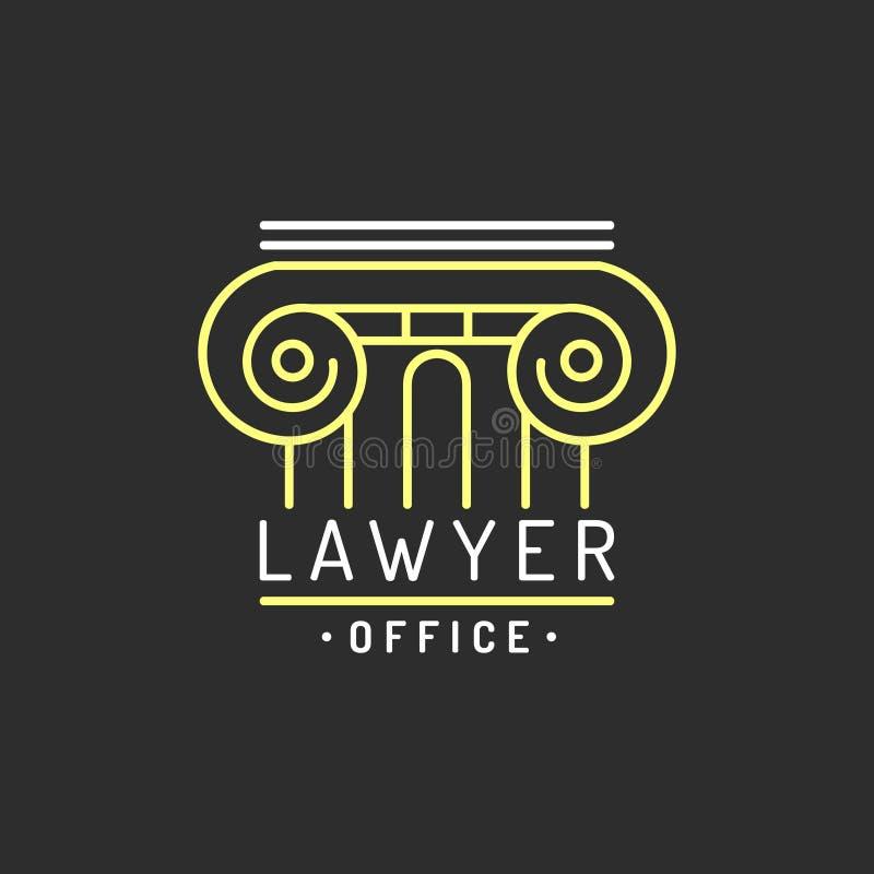 Rechtsanwaltsbürologo Vector Weinleserechtsanwalt, Anwaltaufkleber, rechtlicher fester Ausweis Tat, Prinzip, legales Ikonendesign lizenzfreie abbildung