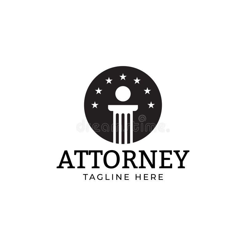 Rechtsanwaltsgesetzeslogoentwurfs-Schablonenvektor lokalisierte stock abbildung