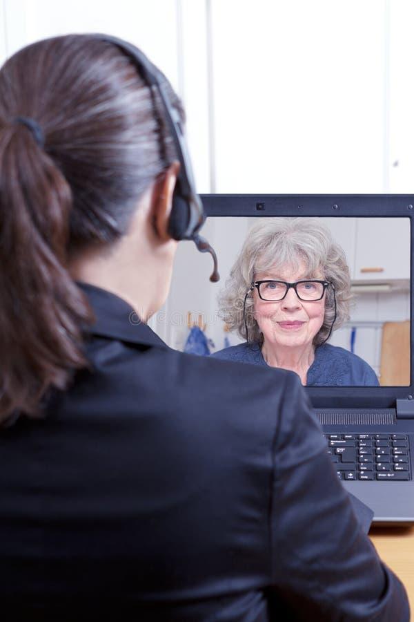 Rechtsanwaltskunden-on-line-Videoanruf stockfotografie