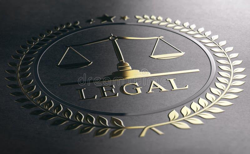 Rechtsberatung, Skalen von Gerechtigkeit, goldenes Gesetzessymbol über schwarzem PA lizenzfreie abbildung