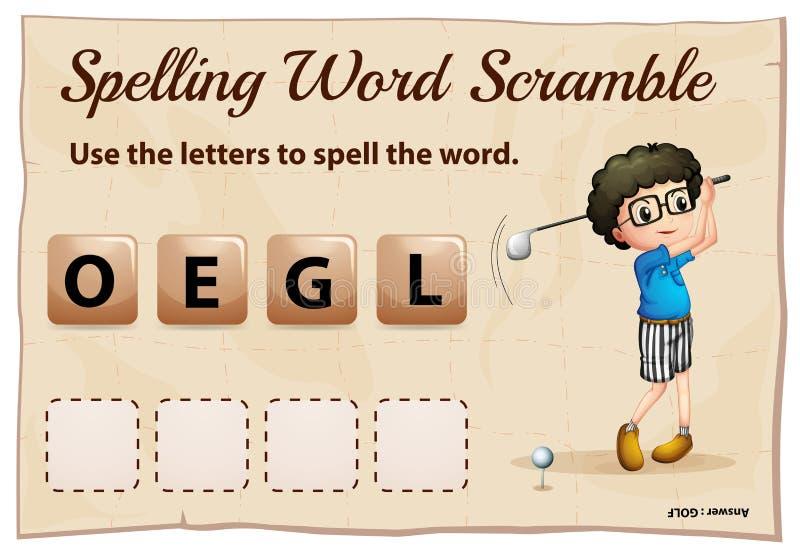 Rechtschreibungswortjagd für Wortgolf lizenzfreie abbildung