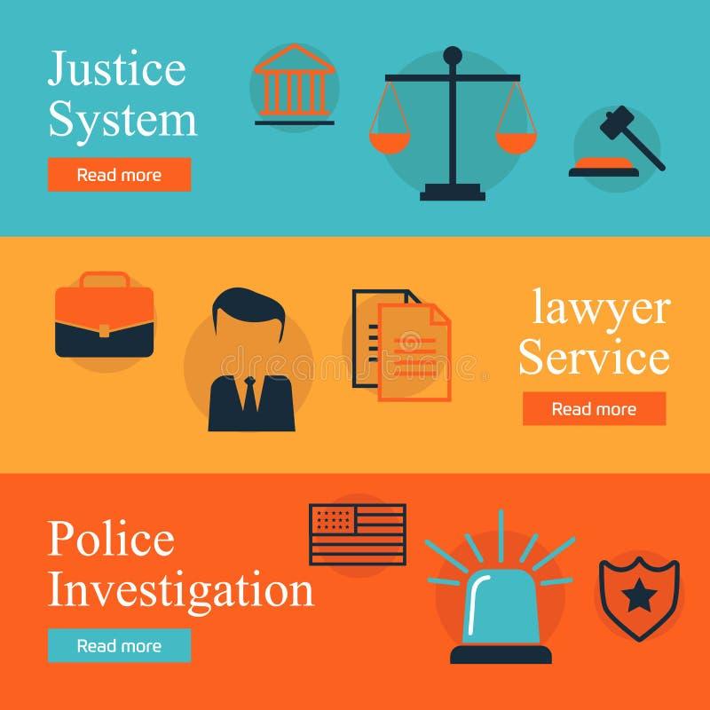 Rechtsdienstleistungen, Recht und Ordnung, flacher Konzeptsatz der Gerechtigkeit Ehrlicher Richter, Rechtssystem, Verbrechenunter stock abbildung
