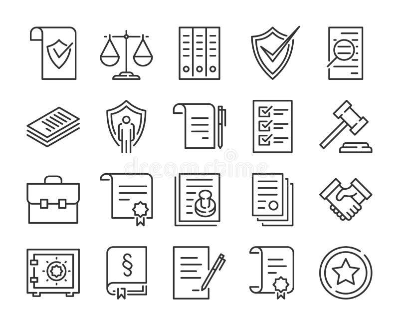 Rechtsdokumentikone Gesetzes- und Gerechtigkeitslinie Ikonensatz Editable Anschlag stock abbildung