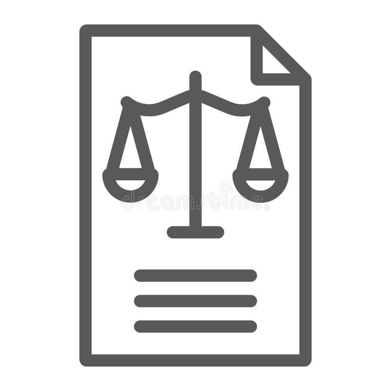 Rechtsdokumentlinie Ikone, Gesetz und Papier, Erklärungszeichen, Vektorgrafik, ein lineares Muster auf einem weißen Hintergrund vektor abbildung