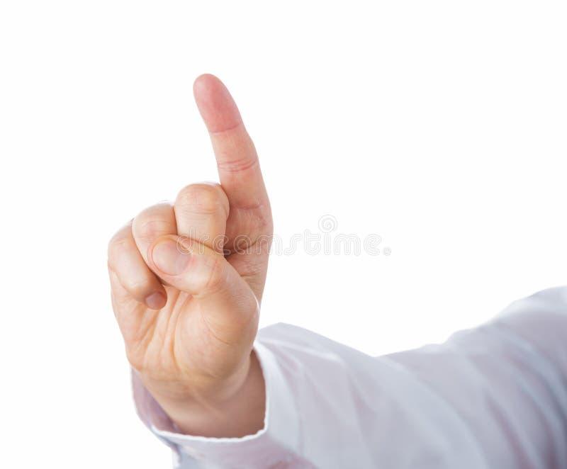 Rechtse het Richten Wijsvinger naar omhoog stock afbeelding
