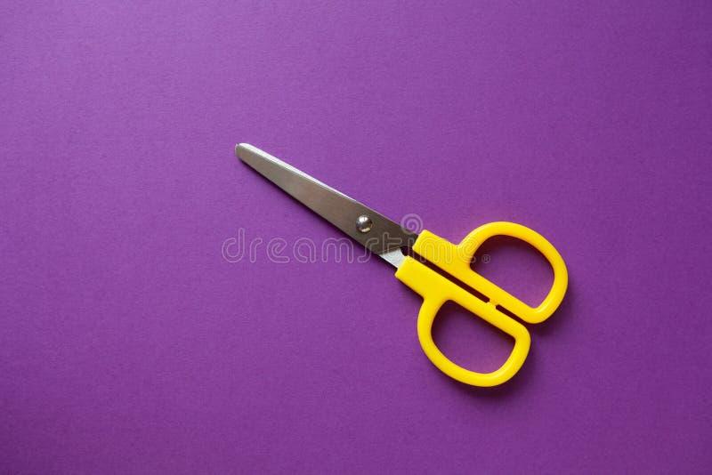 Rechtshändige Scheren des Briefpapiers des gelbes Kindes auf purpurrotem Papierhintergrund Zurück zu Schule DIY-Konzept Draufsich stockfotos