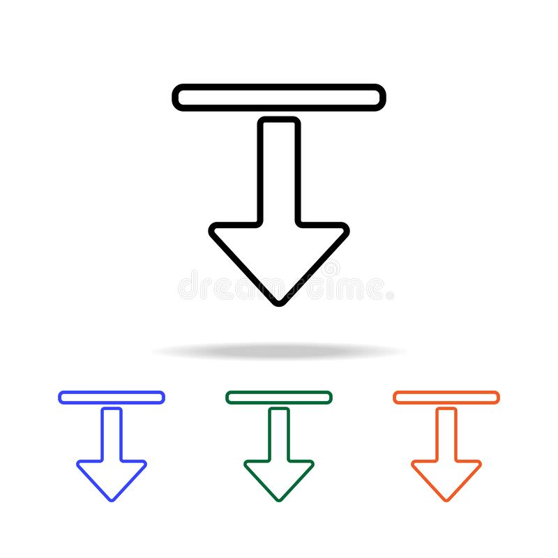Rechtstreeks en Benedenpijlpictogram Elementen van eenvoudig Webpictogram in multikleur Grafisch het ontwerppictogram van de prem stock illustratie