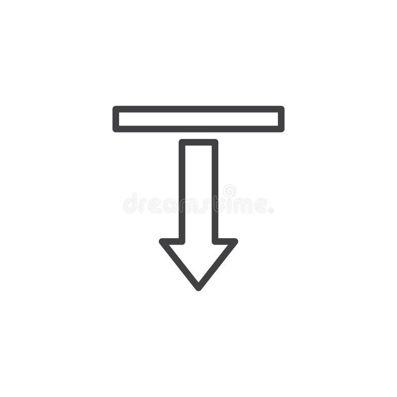 Rechtstreeks en het Benedenpictogram van de Pijllijn vector illustratie