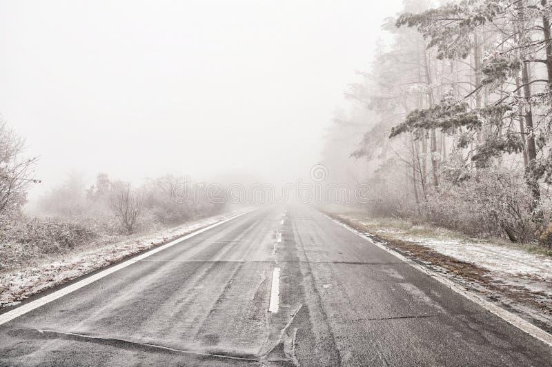 Rechtstreeks lege natte asfaltweg tijdens mistige voorwaarden royalty-vrije stock afbeeldingen