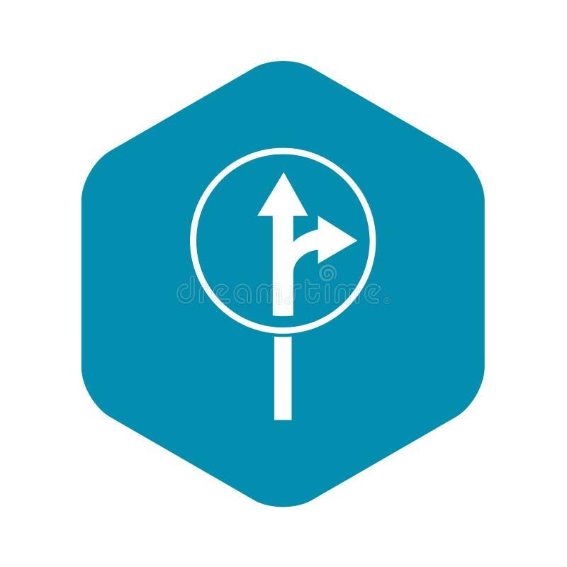 Rechtstreeks of net het pictogram van draai vooruit verkeersteken royalty-vrije illustratie
