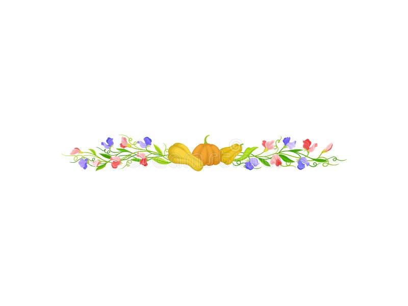 Rechtstreeks van lange stelen met pompoenen Vector illustratie op witte achtergrond vector illustratie