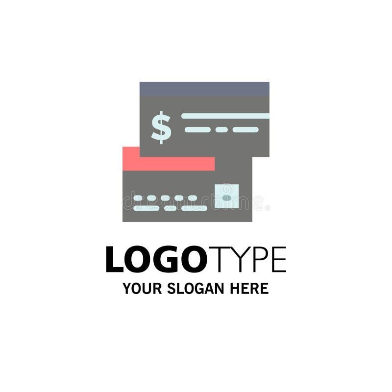 Rechtstreekse betaling, Kaart, Krediet, Debet, Directe Zaken Logo Template vlakke kleur stock illustratie
