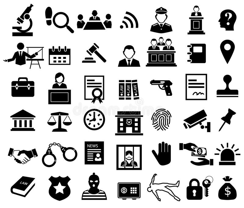 Rechtvaardigheid en de wettelijke reeks van het tekenpictogram vector illustratie