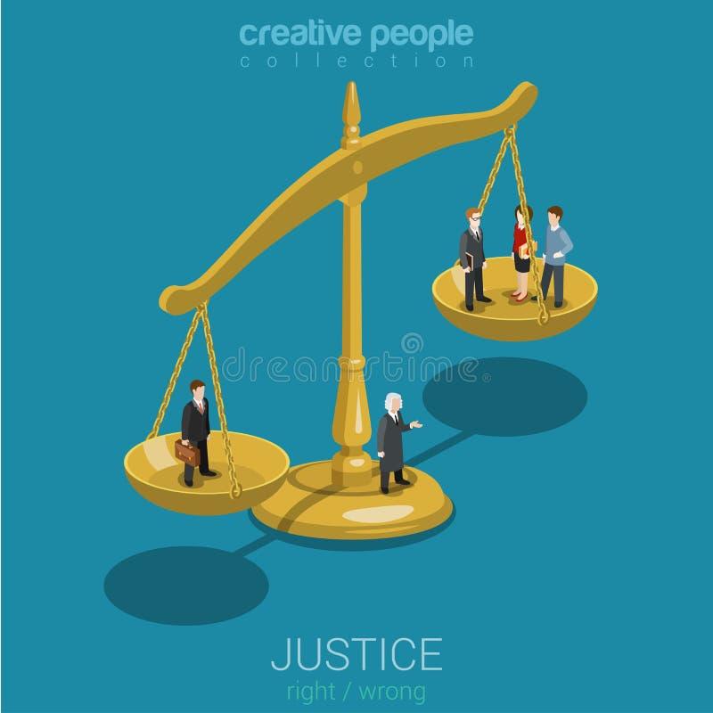 Rechtvaardigheid en wets, vonnis en besluit vlak 3d isometrisch concept royalty-vrije illustratie