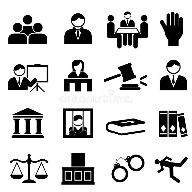 Rechtvaardigheid en wettelijke pictogrammen stock illustratie