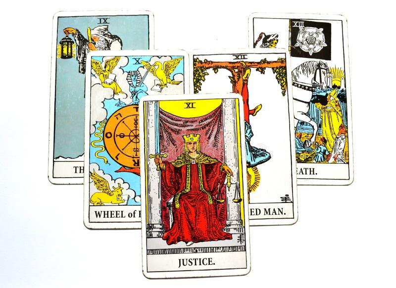 Rechtvaardigheid Tarot Card Court en Wet, Wettigheid, Contracten, Documenten stock illustratie