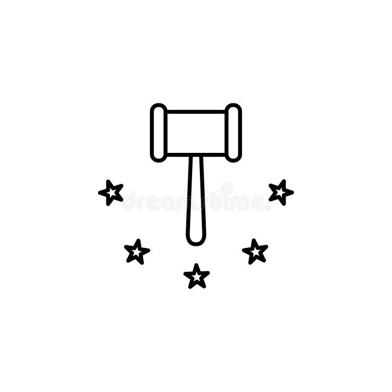 Rechtvaardigheid, wetspictogram Element van het algemene pictogram van het gegevensproject voor mobiel concept en Web apps De dun stock illustratie