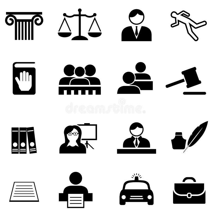 Rechtvaardigheid, wettelijk, wet en de reeks van het advocaatpictogram stock illustratie