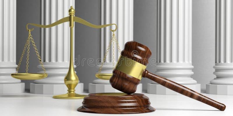 Rechtvaardigheidsschaal, hamer en klassieke pijlers 3D Illustratie royalty-vrije illustratie