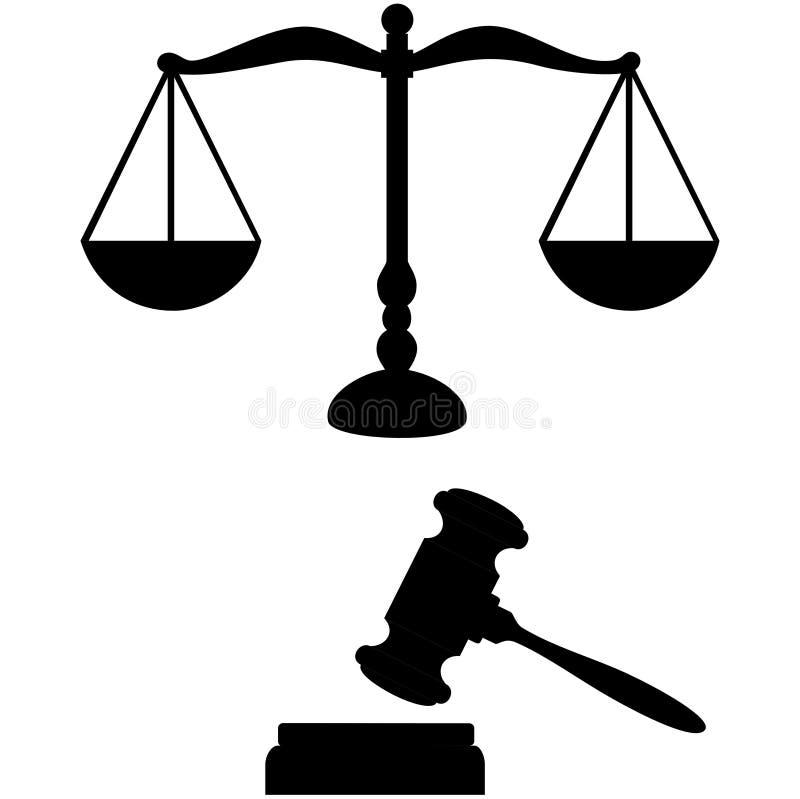 Rechtvaardigheidsschalen en hamer royalty-vrije illustratie