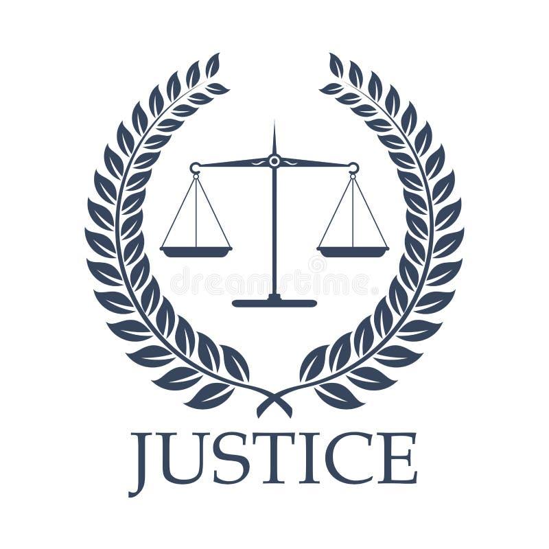 Rechtvaardigheidsschalen en pictogram van de wets het vectorlauwerkrans vector illustratie