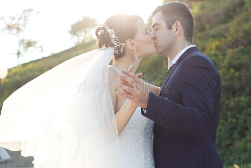 Recién casado joven romántico que se besa en el jardín fotos de archivo