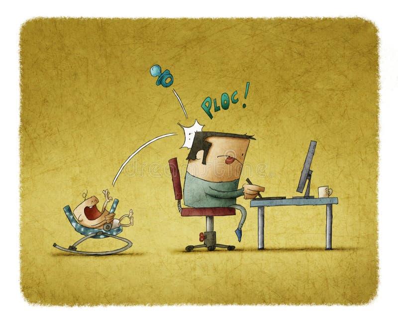 Recién nacido en los oscilaciones que molestan al padre mientras que él que trabaja en el ordenador ilustración del vector