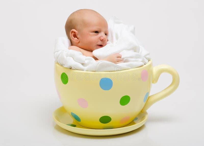 Recién nacido en una taza manchada amarilla fotografía de archivo libre de regalías