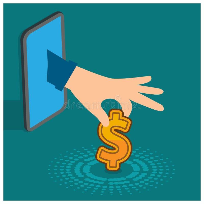 Reciba el dinero vía del teléfono móvil Diseño plano ilustración del vector