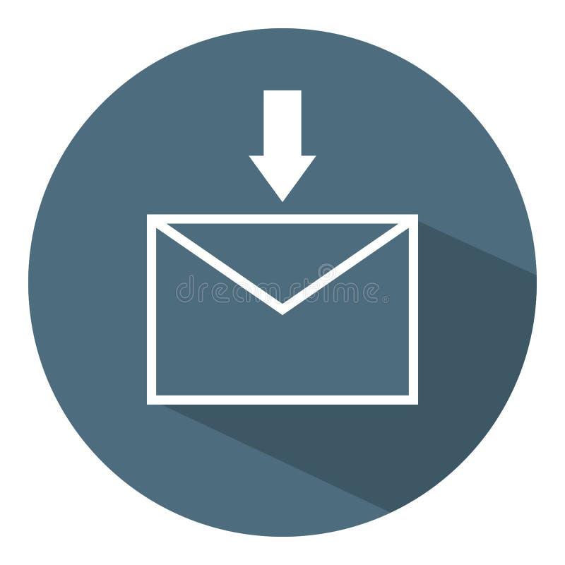 Reciba el icono de la letra Flecha blanca Concepto del asunto Estilo plano Ejemplo del vector para el dise?o, web, Infographic libre illustration