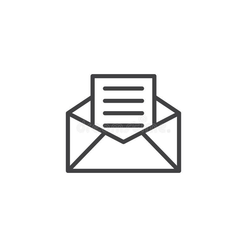 Reciba la línea icono del correo ilustración del vector