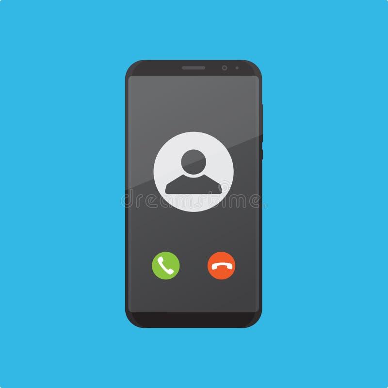 Reciba las llamadas en un ejemplo plano del vector del diseño del smartphone stock de ilustración