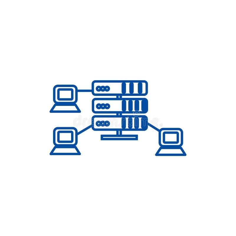 Recibiendo, los servidores de red alinean concepto del icono Recibiendo, símbolo plano del vector de los servidores de red, muest ilustración del vector