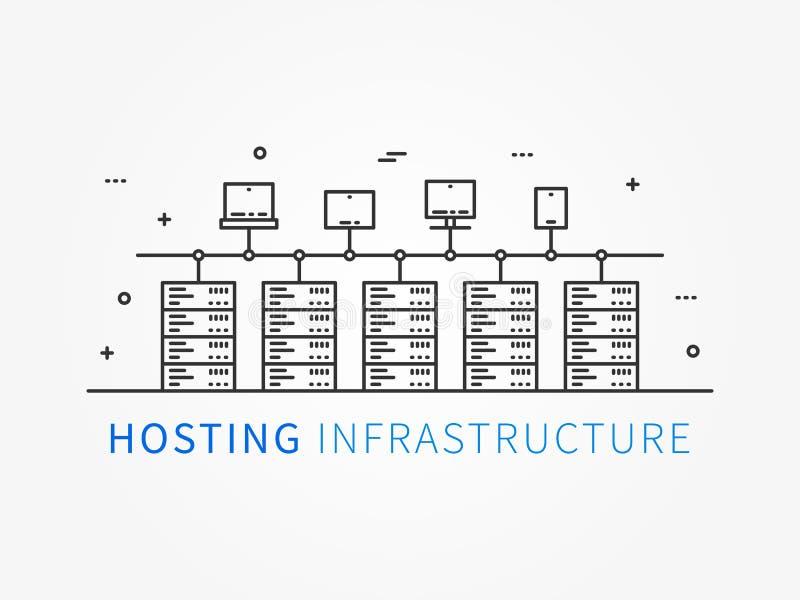 Recibimiento de la infraestructura que conecta con el sistema del servidor stock de ilustración