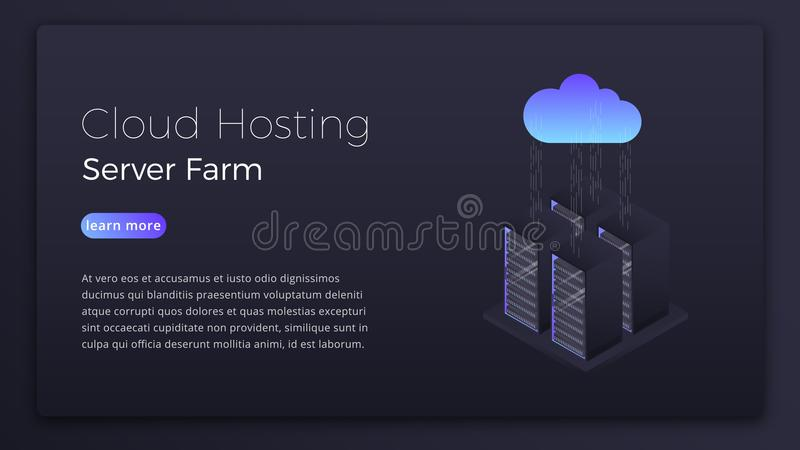 Recibimiento de la nube Datos que reciben concepto isométrico del servidor de la nube Diseño moderno de la imagen del héroe de la libre illustration