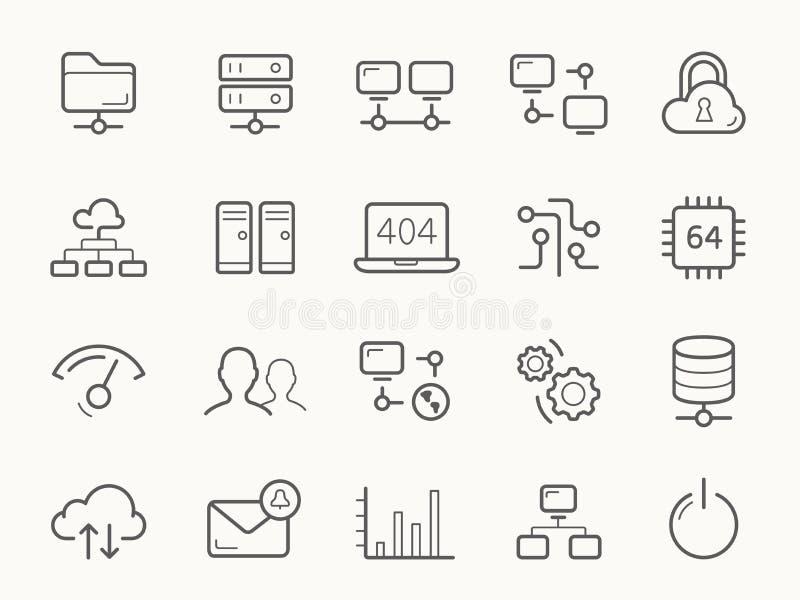 Recibimiento de la red y línea iconos de los servidores stock de ilustración