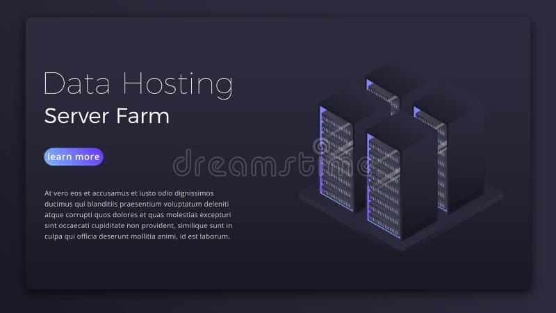 Recibimiento de los datos Concepto isométrico de la granja del servidor de Datacenter Datos modernos que reciben diseño de la ima stock de ilustración