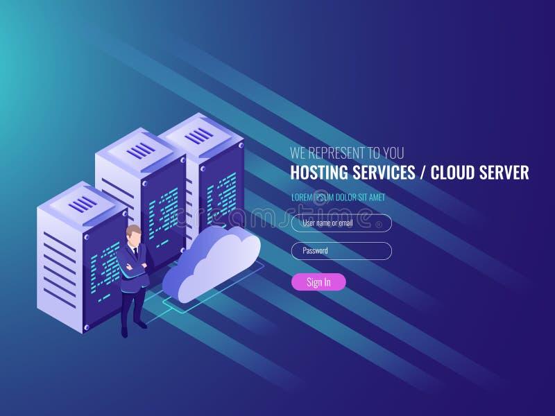 Recibimiento del sitio web concepto isométrico, del cryptocurrency y del blockchain Granja del servidor para los bitcoins mineros ilustración del vector