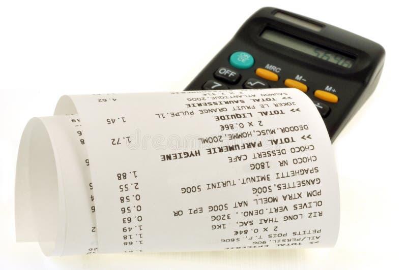 Recibo e calculadora de dinheiro ilustração stock