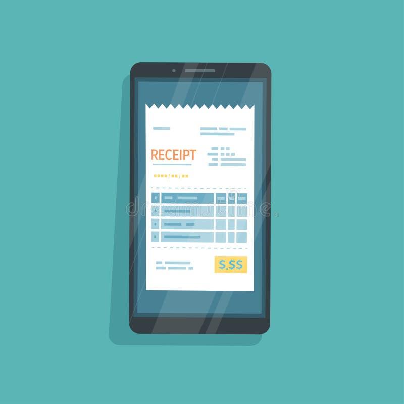 Recibo en la pantalla del teléfono Pago para las mercancías, servicios, utilidad, banco, restaurante vía el teléfono Factura, con stock de ilustración
