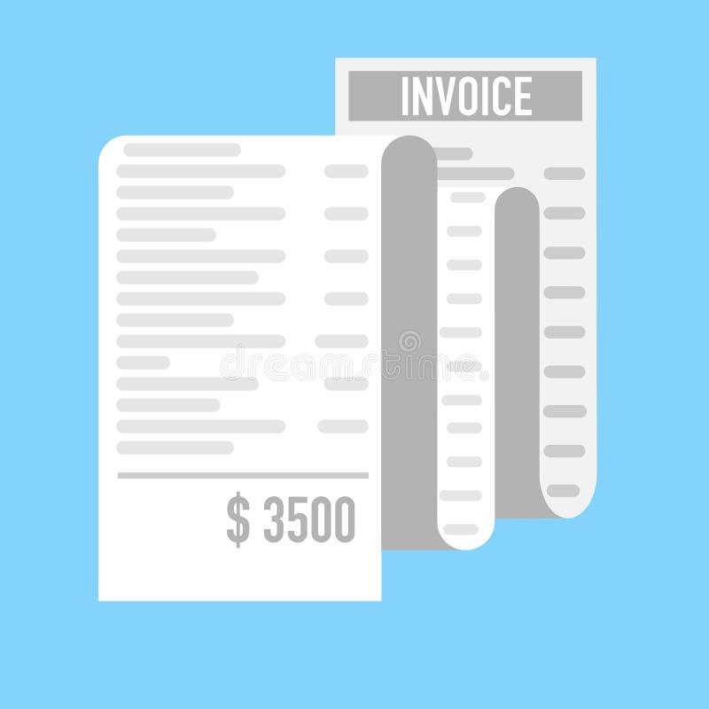 Recibo largo de la factura para presentar la compra costosa ilustración del vector