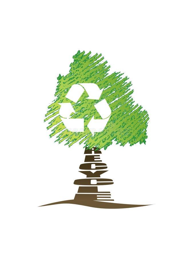 Recicl a árvore ilustração royalty free
