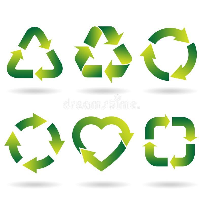 Recicl ícones ilustração stock