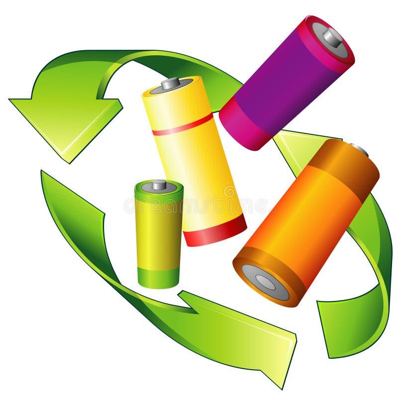 Recicl das baterias ilustração stock