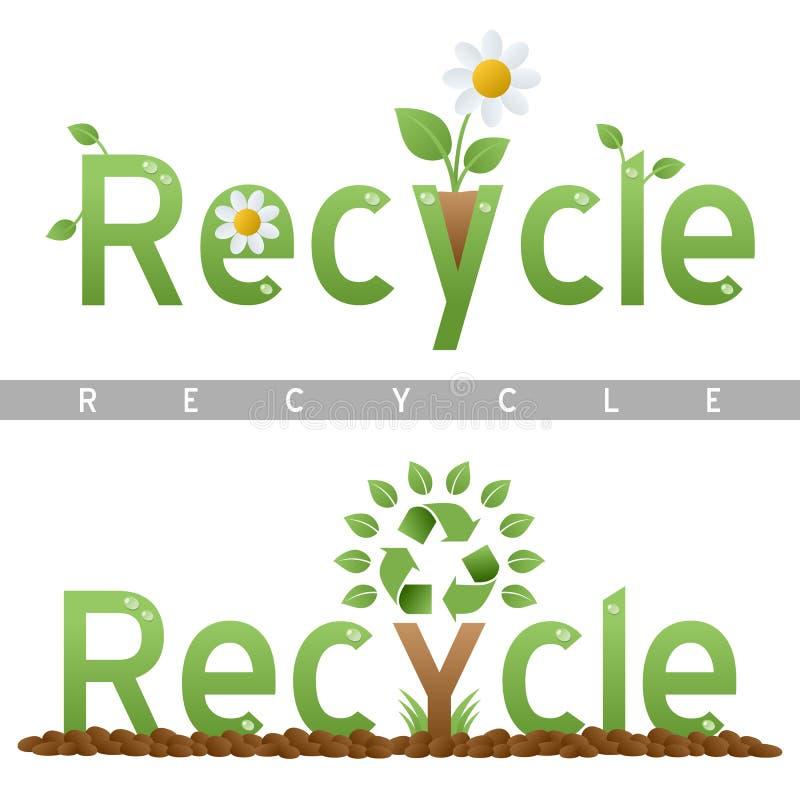 Recicl logotipos do título ilustração royalty free
