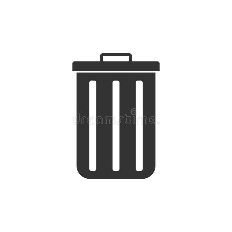 Recicl o ícone do escaninho Ilustração do vetor, projeto liso ilustração royalty free