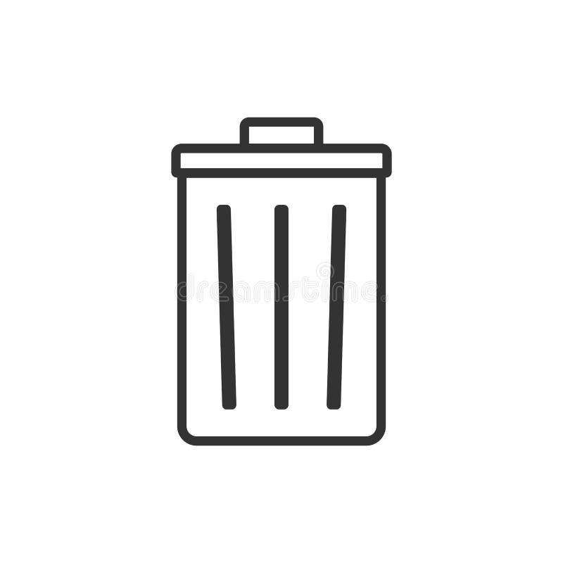 Recicl o ícone do escaninho Ilustração do vetor, projeto liso ilustração do vetor